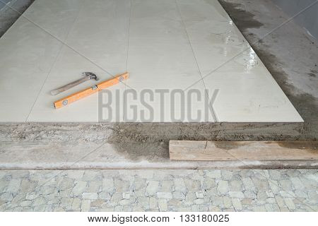 Spirit Level And Hammer (tool For Working Tile)
