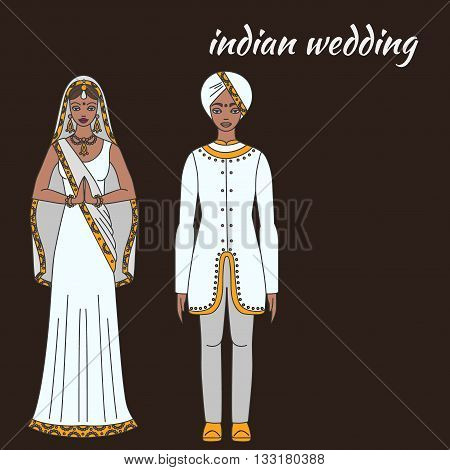 South Asia bride and groom, wedding ceremony. Indian traditional celebration, love couple, hinduism costume outline