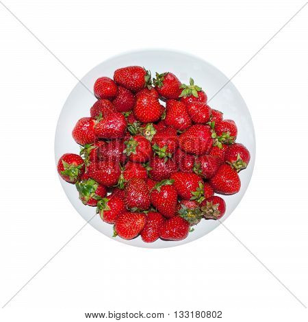 ripe strawberries in ware on a white background