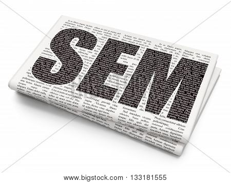 Advertising concept: Pixelated black text SEM on Newspaper background, 3D rendering