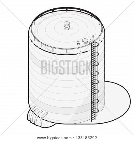 Outlined water reservoir. Water reservoir isometric building info graphic. Wire water supply resource. Pictogram industrial chemistry cleaner set with blue details. Flatten isolated master vector icon