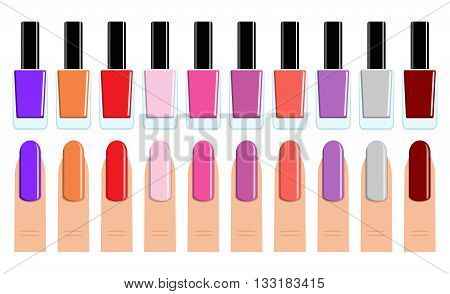 Womans fingers. Color set of different nail polish and nails. vector illustration in flat design.