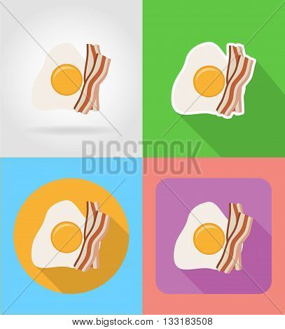 fried egg and bacon fast food flat icons with the shadow vector illustration isolated on background