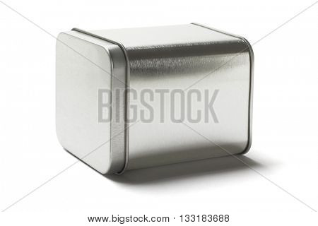 Square Metal Tin Can Lying on White Background