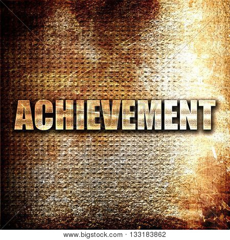 achievement, 3D rendering, metal text on rust background