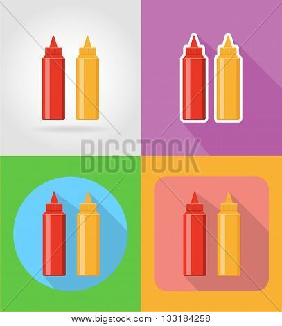 ketchup and mustard fast food flat icons with the shadow vector illustration isolated on background