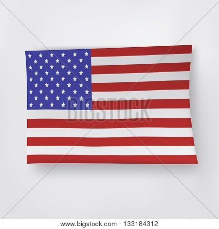 Paper American flag on the white background.