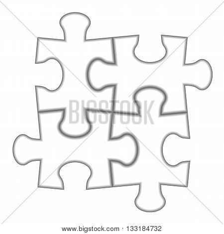 Puzzle 2x2. Vector illustration of white puzzle separate pieces.