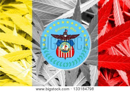 Flag Of Columbus, Ohio, On Cannabis Background