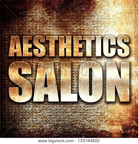 aesthetics salon, 3D rendering, metal text on rust background