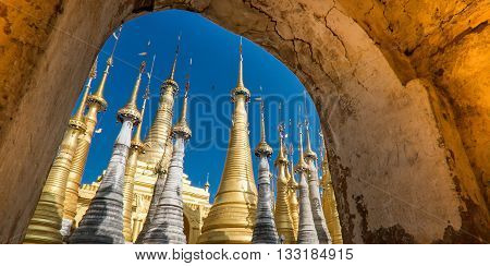 Indein village Pagoda Inle Lake Myanmar in day light
