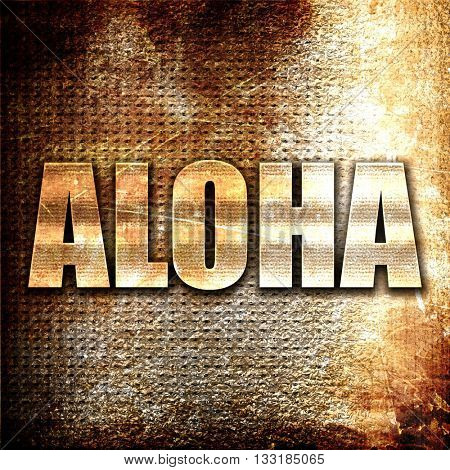 aloha, 3D rendering, metal text on rust background