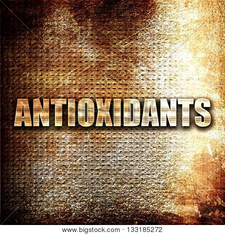 antioxidants, 3D rendering, metal text on rust background