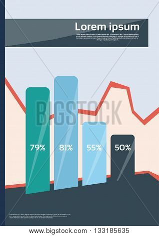 Bar Chart Diagram With Percentage Financial Graph Flyer Cover Design Page Template Vector Illustration