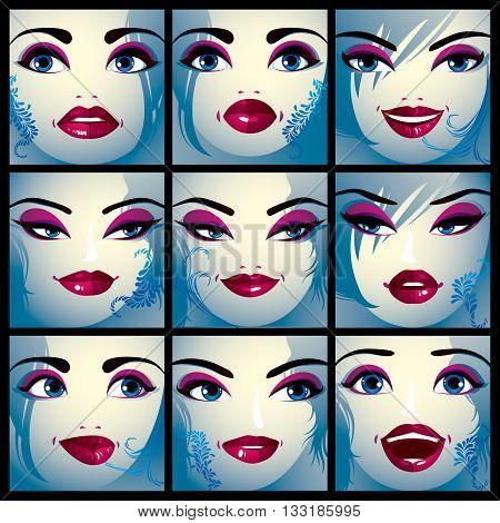 Attractive ladies vector portraits collection girls with beautiful makeup and blue eyes. Facial expression of females.