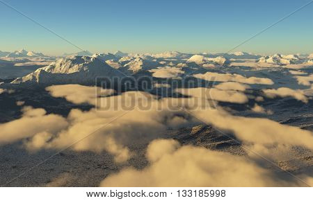 Ice age. Icy wasteland of the clouds in the sky. 3D illustration