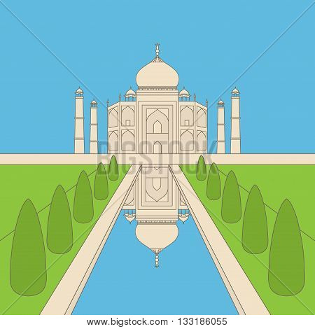 Taj Mahal Temple Landmark in Agra, India. Indian white marble mausoleum, indian architecture outline