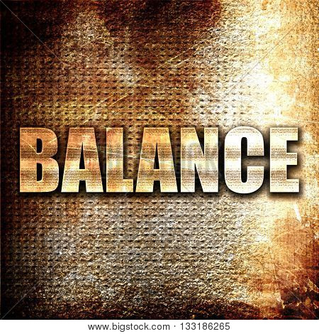 balance, 3D rendering, metal text on rust background