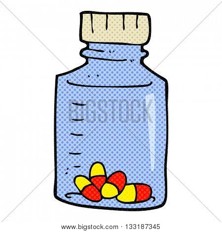 freehand drawn cartoon jar of pills