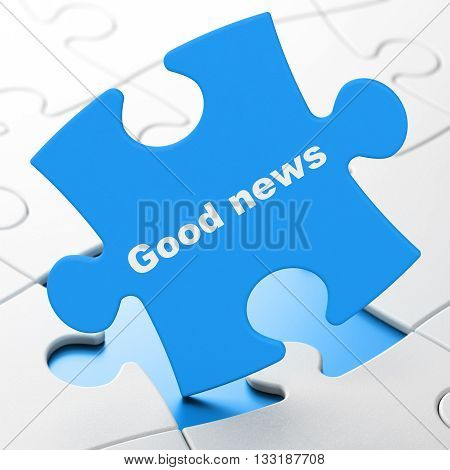 News concept: Good News on Blue puzzle pieces background, 3D rendering