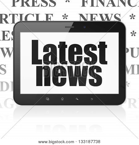 News concept: Tablet Computer with  black text Latest News on display,  Tag Cloud background, 3D rendering