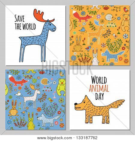 Elk and wolf in Doodle style hand drawn. Two seamless pattern with wild animals of the forest. Vector set of images for printing on fabric, clothes, packaging, Wallpapers.