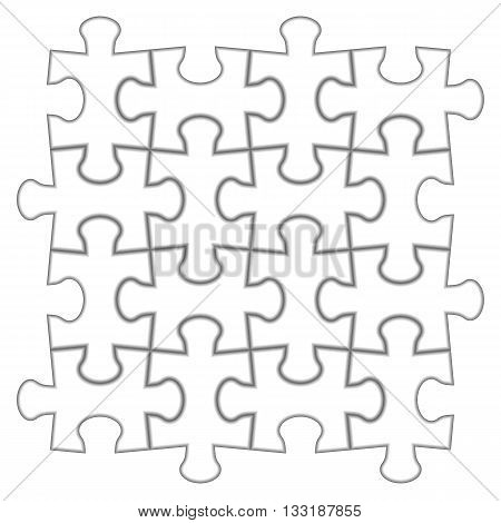 Puzzle 4x4. Vector illustration of white puzzle separate pieces.