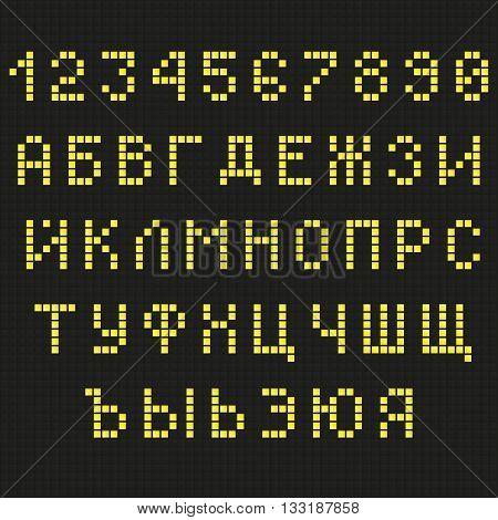 Cyrillic font. Digital scoreboard font. LED font. Russian font. Uppercase font. Information table font. Yellow Letters Font