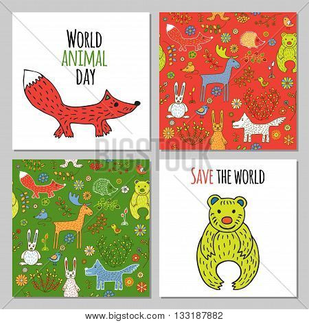 Fox and bear in Doodle style hand drawn. Two seamless pattern with wild animals of the woodland. Vector set of images for printing on fabric, clothes, packaging, Wallpapers.