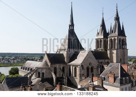 View of a church and the Loire river from Blois, France