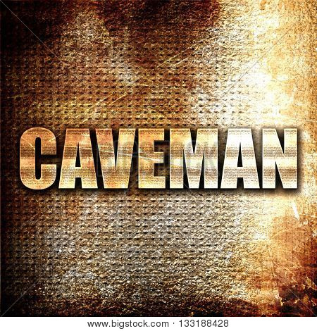 caveman, 3D rendering, metal text on rust background