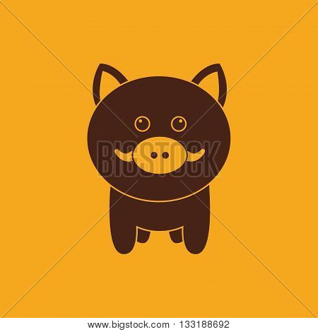abstract cute wild pig silhouette on a yellow background