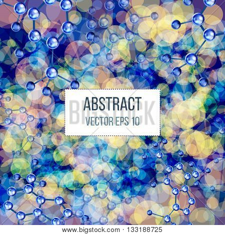 Abstract molecules design. 3d atomic structure molecule model grid over colorfull background. Banners with blue molecules design. Atoms. Medical background for banner or flyer.