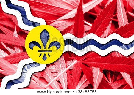 Flag Of St. Louis, Missouri, On Cannabis Background