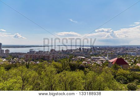 View of the city Saratov from an observation deck from Victory park