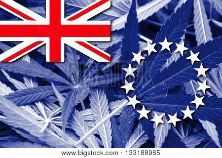 Flag Of The Cook Islands, On Cannabis Background