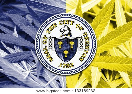 Flag Of Trenton, New Jersey, On Cannabis Background