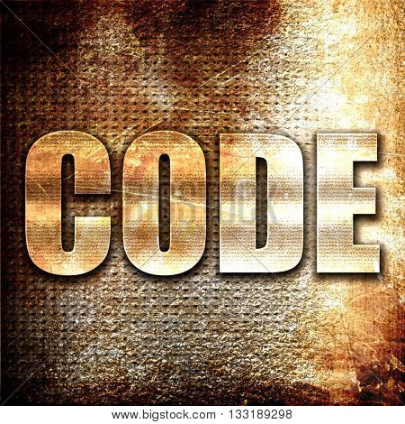 code, 3D rendering, metal text on rust background