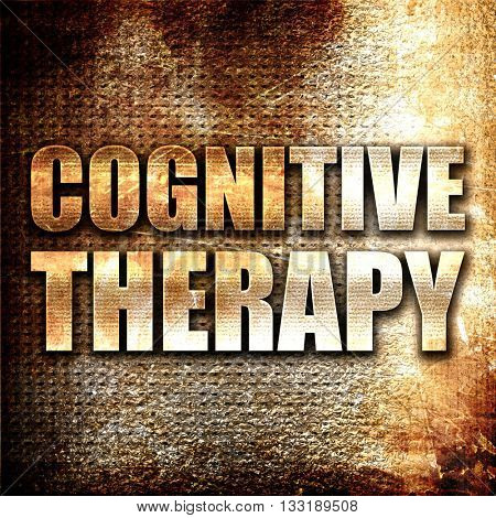 cognitive therapy, 3D rendering, metal text on rust background