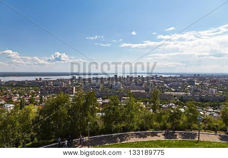 View of town Saratov and beautiful sky from the Victory monument
