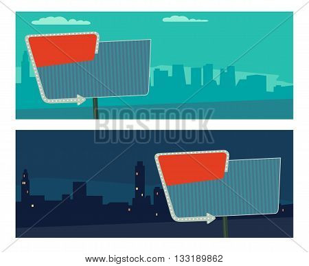 Night sign with an arrow. Billboard in retro style with lights. Vector flat illustration on city night and morning background. For banner poster presentation.