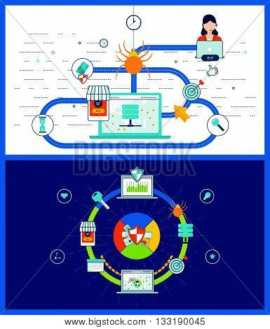 Data protection and safe work. Data safety. Investment security. Virus protection concept. Mobile marketing and security online shopping. Color line icons
