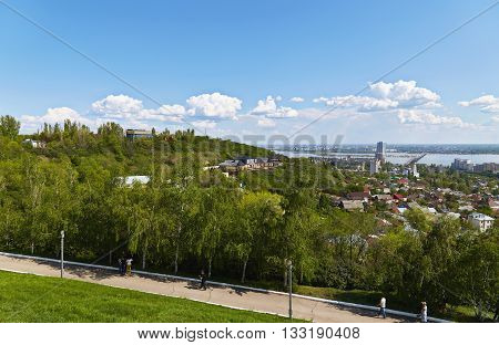 View of the town of Saratov and beautiful sky from the Victory monument