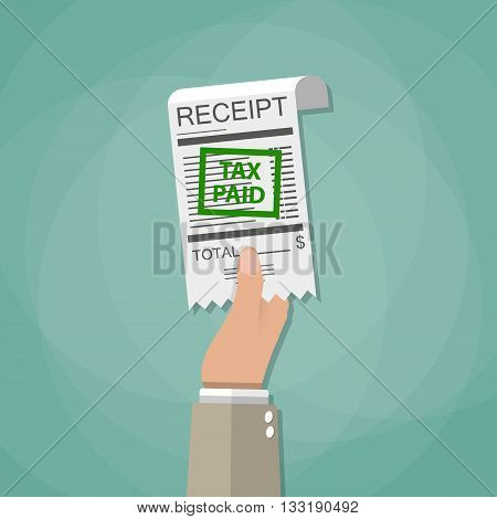 Hand holding receipt with green stamp tax paid. paying taxes concept. vector illustration in flat style on green background