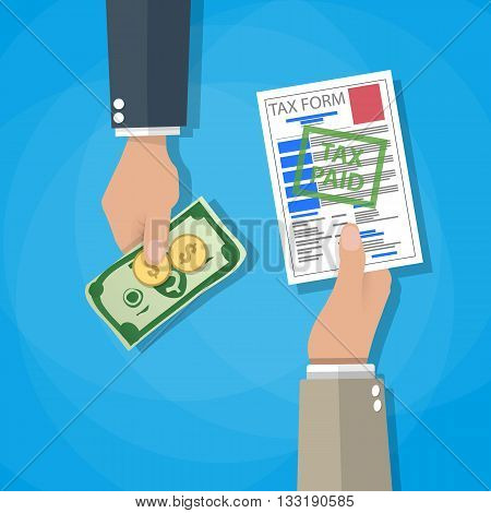 One cartoon hand giving tax form and another hand giving cash money, dollar banknote and coins. paying taxes concept. vector illustration in flat design on blue background