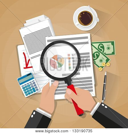Cartoon businessman hands with magnifier analysis paper sheet, calculator, pen, coffee, money and coins. auditing tax, financial market analysis, seo, financial report. vector illustration in flat design on brown background