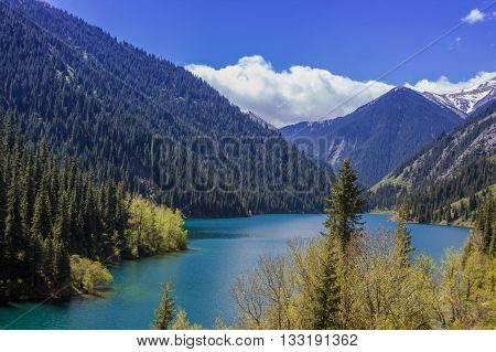 Kolsay Lake in Tien Shan mountain system Kazakhstan