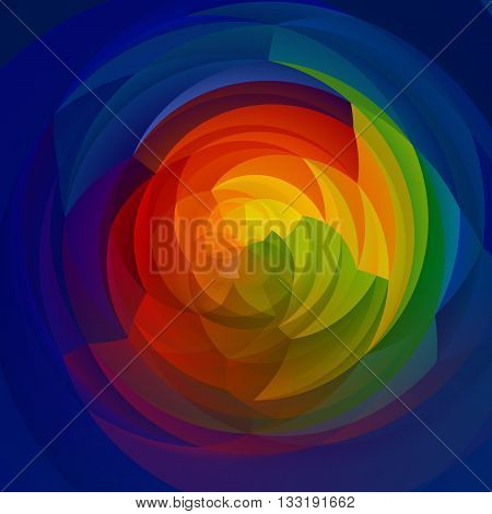 abstract modern artistic rounded shapes background - full color spectrum rainbow colors - blue