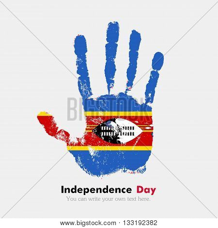 Hand print, which bears the Flag of Swaziland. Independence Day. Grunge style. Grungy hand print with the flag. Hand print and five fingers. Used as an icon, card, greeting, printed materials.
