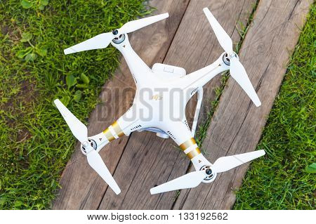 St. Petersburg Russia - May 4 2016: Drone quadrocopter Phantom 3 Professional with high resolution digital camera designed by the Chinese company DJI top view